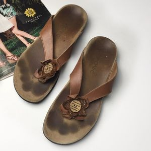 Vionic Orthaheel Leathet Thong Slide Sandals